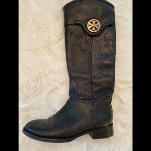 Tory Burch Logo Riding Boots